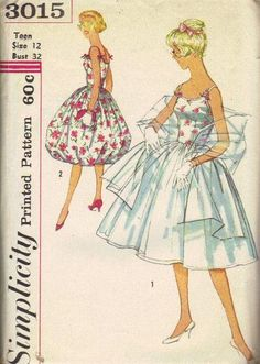 Simplicity Sewing Pattern 1959 Swing Dress Full Bubble Circle Skirt Bare Shoulders Fitted Bodice Ballerina Style Stole Wrap Bust 32. $15.00, via Etsy.
