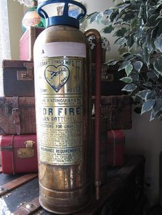 Vintage Elkhart Brass Fire Extinguisher for by preciousplaytime, $88.60