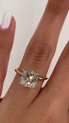 Yellow Engagement Rings, Cushion Cut Engagement Ring, Princess Cut Engagement Rings, Princess Cut Rings, Solitaire Engagement, Gold Wedding Rings, Best Wedding Rings, Wedding Rings Solitaire, Wedding Bands