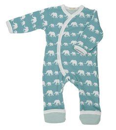 Babypyjama Olifantjes - blauw biologisch katoen
