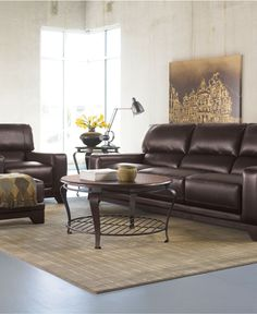 Luke Leather Living Room Furniture 3 Piece Set Sofa And 2 Chairs