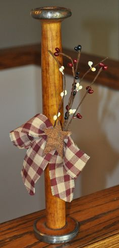 Country Decorated 12 Wooden Spool by marycottrellwilson on Etsy, $14.99
