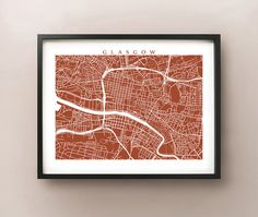Glasgow map print. Outlined streets create an intriguing pattern, unique to Glasgow, Scotland. Choose between 70 different colors! View additional