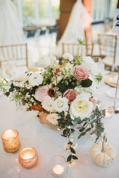 Fall, pastel #wedding centerpiece with pink + white flowers and pumpkins {Anna Lee Media}