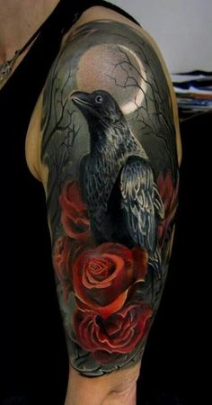 A lonely raven stands among roses in a dark night. When a person gets such tattoo, he's ready and stand by for anything to happen. The roses here implies here not bad things.