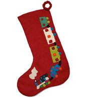 Large toy train Christmas stocking- red