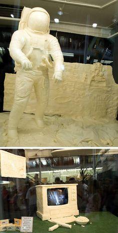 Man on the moon butter sculpture