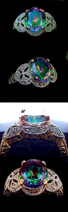 Other Fine Vintage Jewelry 91440: Oval 5Ct Mystic Topaz Diamond Ring Solid Gold Intricate Design Sale! BUY IT NOW ONLY: $549.0