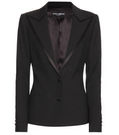 Dolce & Gabbana - Wool and silk blazer - Dolce & Gabbana creates the ultimate black blazer this season. The wool-blend piece is an editor's favourite, crafted from lightweight fabric and tailored to perfection for a sharp, feminine silhouette. seen @ www.mytheresa.com
