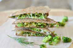 Broccoli Quesadilla with Avocado, Garlic and Dill - Mountain Mama Cooks