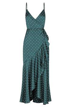 Martina Cocktail Wrap Dress | Emerald/Ivory | Dresses | Shona Joy | Shona Joy International