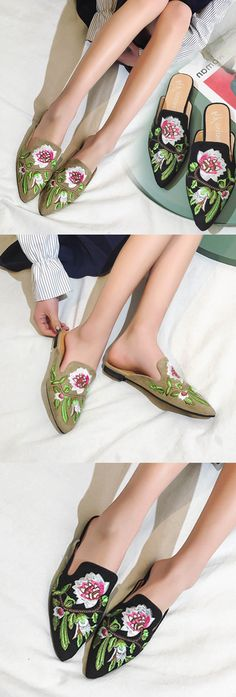 US$16.37 Embroidery Flower Slip On Backless Flat Mules