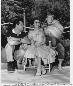 Rock-Hudson-Jane-Wyman-and-Judy-Nugent-on-set-of-Magnificent-Obsession