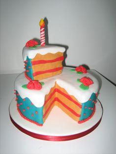 Slice of cake cake, 2 tier cake.