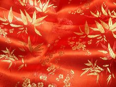 Chinese brocade fabric  ONE yard of bright red by TintinBeads