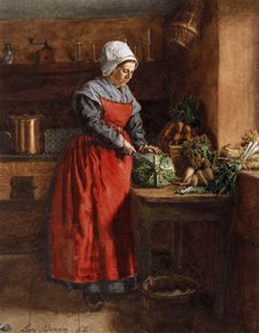 """ARTICLE: """"18th Century Aprons from Historic Paintings""""  by Victoria Rumble at TheHistoricFoodie's Blog. Includes more images as well as research article. Painting from the Walters Art Museum."""