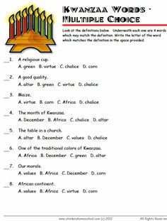 Kwanzaa, Vocabulary worksheets and Worksheets on Pinterest