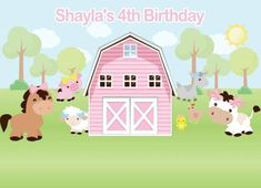 -Light absorbant, Non-reflectivePrinted. Cow Birthday Parties, Farm Birthday, Party Kulissen, Farm Party, Farm Backdrop, Vinyl Backdrops, Custom Backdrops, Garden Animals, Backdrops For Parties