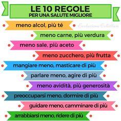 Le 10 regole per una salute migliore #aforismi #frasi #citazioni #evoluzionecollettiva Wellness Tips, Health And Wellness, Health Fitness, Mental Health, Daily Motivation, Fitness Motivation, Relax, Good Habits, Behance