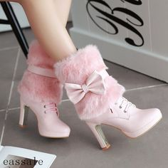 Cute Lolita Womens Bow Fur Furry Winter High Heel Ankle Boots Lace-Up Lady Shoes