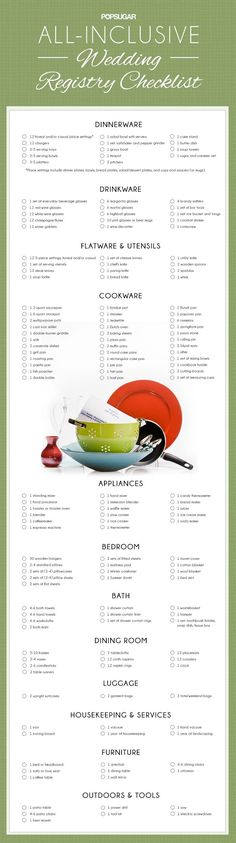 Before you start your wedding registry print this all-inclusive checklist which includes dinnerware drinkware flatware\/utensils cookware appliances bedroom bath dining room luggage housekeeping and furniture. Before Wedding, Wedding Tips, Trendy Wedding, Perfect Wedding, Our Wedding, Dream Wedding, Wedding Reception, Wedding Gowns, Budget Wedding
