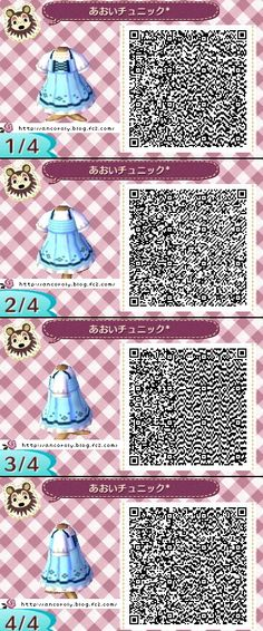 Animal Crossing New Leaf QR codes cute blue dress