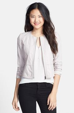T Tahari 'Willow' Collarless Zip Front Jacket available at #Nordstrom