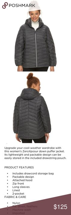 🎉new list! 🆕❄️3/4x puffer down jacket❄️🆕 Packable down puffer jacket.  ZeroXposur.   Very roomy size 3x so could probably fit 4x also.   Gray.  Two zipper front pockets.  Includes pouch to roll it up and pack it away when necessary. ZeroXposur Jackets & Coats Puffers