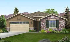 The Highland   Plan 2100 adding an accent EXTERIOR STONE WALL!