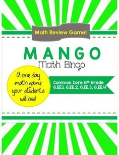 """This game is called """"Mango"""" and it is one of my students' favorites. It is a great way to review and practice concepts and skills. This particular Mango game is aligned to the Common Core 6.EE.1, 6.EE.2, 6.EE.3, 6.EE.4 standards. Included in this package:-The """"Mango"""" board for your students to fill out and use for the game-A teacher question sheet, with the problems that correspond to the answers that the students will find and cross out on their Mango boards."""