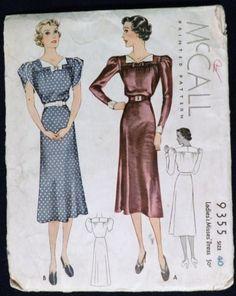 McCall 9355   1937 Ladies' & Misses' Dress