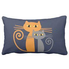 Orange Cat, Grey Cat Throw Pillows