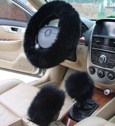 NEW BLACK Universal Long Wool Fuzzy Stretchy Auto Car Steering Wheel Cover 1 PCS