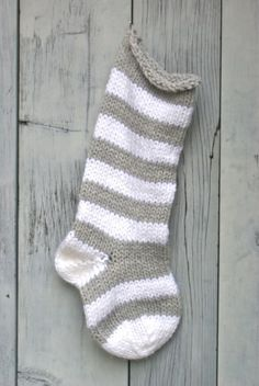 Chunky Gray & White Striped Knitted Stocking
