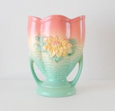 Hull Art Pottery Vintage Vase. Water Lily A8. by retrogroovie, $73.99