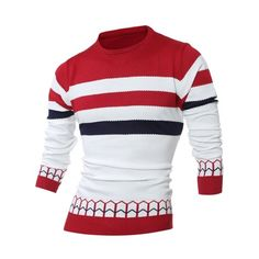 25.09$  Watch here - http://dib9p.justgood.pw/go.php?t=203021002 - Jacquard Striped Crew Neck Pullover Sweater