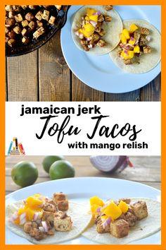 jamaican jerk tofu tacos with mango relish Southern Cooking Recipes, Jamaican Jerk Seasoning, Tofu Tacos, Incredible Recipes, Fabulous Foods, Vegetarian Recipes, Stuffed Peppers, Mango, Healthy