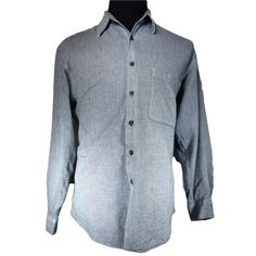 Henry Grethel Casual Shirt Mens LARGE 42cm Gray Tweed Long Sleeve Pointed Collar #HenryGrethel #ButtonFront