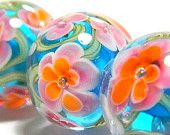 Tropical handmade lampwork glass beads - Tropical Day - MADE TO ORDER