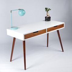 Mid Century Modern Two Drawer Desk. Great for Writing, Studying, or Computer Desk. Solid Wood