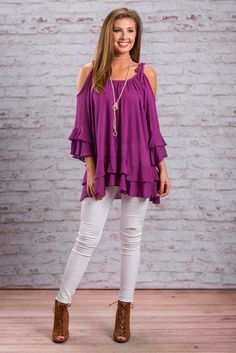 """Look My Way Top, Orchid""You won't have to convince anyone to look your way in this top! The top will do it for you! The color is fabulous for one!! But the style is too! #newarrivals #shopthemint"