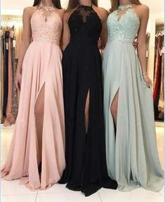 Charming Lace Halter Long Chiffon Split Evening Gowns Formal Prom Dresses sold by Hot Lady on Storenvy Pretty Prom Dresses, Hoco Dresses, Lace Evening Dresses, Formal Dresses, Chiffon Dresses, Formal Prom, Formal Wedding, Evening Gowns, Halter Top Prom Dresses
