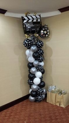 Movie Theme Balloon Tower Dance Themes, Movie Themes, Party Themes, Balloon Tower, Balloon Columns, Balloon Arrangements, Balloon Decorations, Prom Balloons, 8th Grade Dance