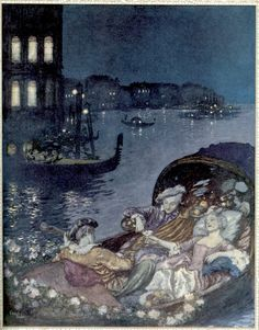 At the bottom of the gondola - illustration for the poem by Alfred de Musset , Christmas 1912