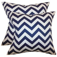 Zig Zag Pillow in Blue