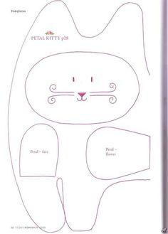 Moldes Para Artesanato em Tecido: Gato com molde tilda