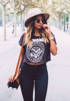 I like the top & pants, but I would wear a black hat instead, Ray-ban sunglasses, I would have a black purse instead as well & no watch