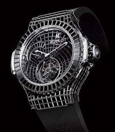 The 34.5-Carat Hublot 'Black Caviar Bang' Timepiece #watches trendhunter.com