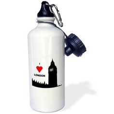 3dRose I Love London, Sports Water Bottle, 21oz