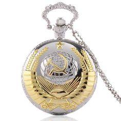 Cindiry Brand Soviet USSR Emblem Earth Sickle Hammer Communism Quartz Pocket Watch with Chain Men Women Necklace Watch Gifts P20